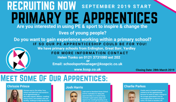Recruiting Now – Primary Pe Apprenticeship 2019